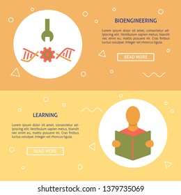 Biohacking and learning concept flyer templates in flat style
