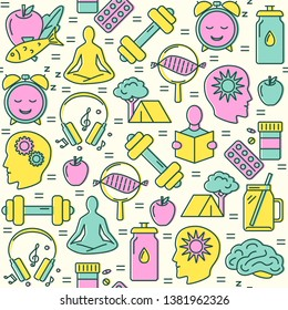 Biohacking seamless pattern in colored line style. Health improvement concept repeating background. Vector illustration.