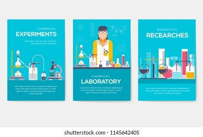 Biohazard chemists brochure cards set. chemistry lab template of flyear, magazine, poster, book cover, banner. Science people with equipment invitation concept background. Layout scientist modern