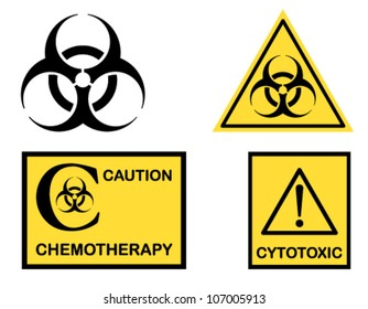 Biohazard, Cytotoxic and Chemotherapy symbols icons. Vector file saved as EPS AI8, no effects, easy edit and print.