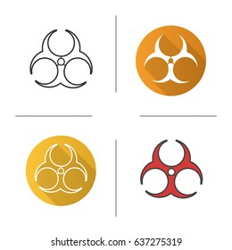 Biohazard danger icon. Flat design, linear and color styles. Bio hazard caution. Isolated vector illustrations