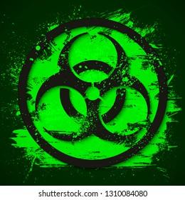 Biohazard dangerous sign on green slime background. Toxic waste vector illustration