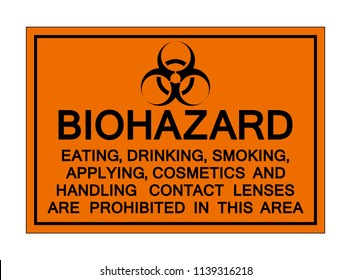 Biohazard Eating, Drinking,Smoking In This Area, Vector Illustration, Isolate On White Background, Label ,Icon. EPS10