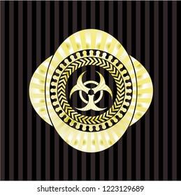 biohazard icon inside gold shiny emblem