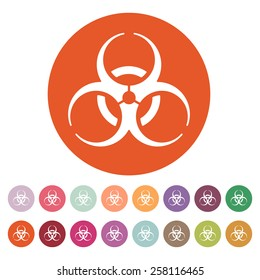 The biohazard icon. Biohazard symbol. Flat Vector illustration. Button Set