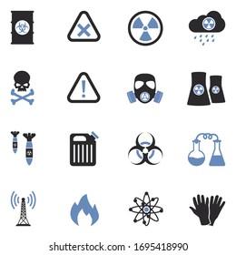 Biohazard Icons. Two Tone Flat Design. Vector Illustration.