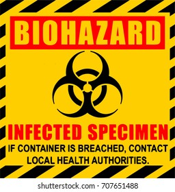 Biohazard illustration. Infected Specimen yellow, black and red danger vector sign.