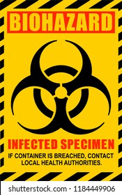Biohazard illustration label. Infected Specimen, yellow, black and red danger vector sign.