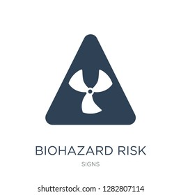 biohazard risk triangular icon vector on white background, biohazard risk triangular trendy filled icons from Signs collection, biohazard risk triangular vector illustration