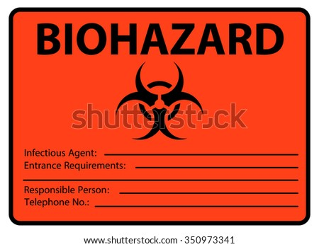 Biohazard Safety Sign Infectious Agent Poster Stock Vector Royalty