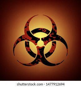 Biohazard sign. Symbol of biohazard threat alert on red background. Vector illustration