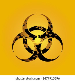 Biohazard sign. Symbol of biohazard threat alert on yellow background. Vector illustration