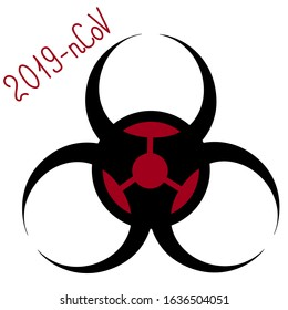 Biohazard sign. Warning symbol. Vector illustration. Isolated background. Outbreak of coronavirus infection covid19. Symbol for a laboratory. 2019-nCoV. Lettering. Agent, carrier, source, transmission