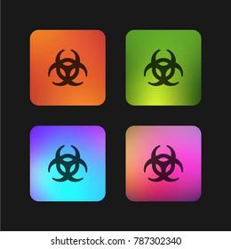 Biohazard symbol four color gradient app icon design