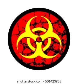 Biohazard symbol icon, Web buttons. Bio-hazard symbol with grunge texture isolated on background. Vector illustration, EPS10