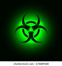 Biohazard symbol on green glowing background