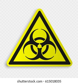 Biohazard Symbol on transparent background. Isolated vector illustration. warning attention sign