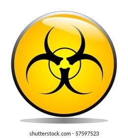 Bio-hazard symbol on a yellow button
