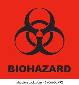 The biohazard symbol is red and black. Vector illustration.