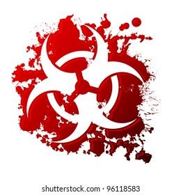 A biohazard symbol reversed out of a blood spill