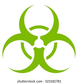 Biohazard Symbol vector icon. Style is flat symbol, eco green color, rounded angles, white background.
