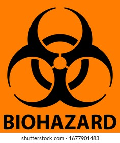 Biohazard symbol with warning text isolated on orange background. Vector EPS10 file
