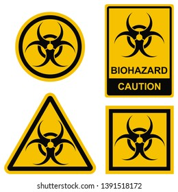 Biohazard symbols set. Biological danger caution. Vector signs. Toxin, microorganism or virus that can hazard human health. Medical warning signs for laboratory or hazardous zone. Prohibition labels.