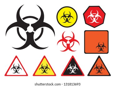 Biohazard vector icon in different styles. Clip art that can be changed to any size.