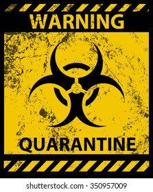 Biohazard Waring Quarantine Poster and Grunge Texture