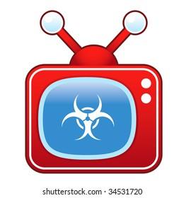 Biohazard warning icon on retro television set