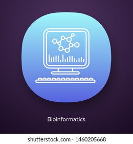 Bioinformatics app icon. Human genome research. Biochemical information analysis by computer. Bioengineering. UI/UX user interface. Web or mobile application. Vector isolated illustration