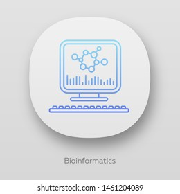 Bioinformatics app icon. Human genome research. Biochemical information analysis by computer. Bioengineering. UI/UX user interface. Web or mobile applications. Vector isolated illustrations