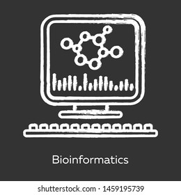 Bioinformatics chalk icon. Human genome research. Biochemical information computer analysis. Biological data. Molecular genetics info storage. Bioengineering. Isolated vector chalkboard illustration