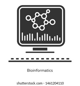 Bioinformatics glyph icons set. Human genome research. Biological data. Molecular genetics info storage. Bioengineering. Silhouette symbols. Vector isolated illustration