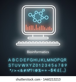 Bioinformatics neon light icon. Human genome research. Biochemical information. Biological data. Bioengineering. Glowing sign with alphabet, numbers and symbols. Vector isolated illustration