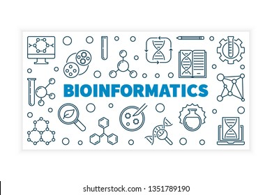 Bioinformatics vector concept illustration or banner in thin line style on white background