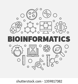 Bioinformatics vector round concept illustration in thin line style