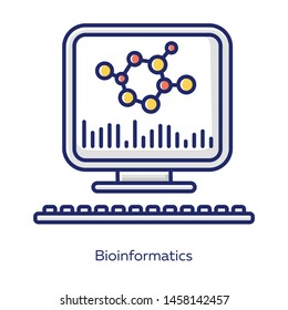 Bioinformatics white color icon. Human genome research. Biochemical information analysis by computer. Biological data. Molecular genetics info storage. Bioengineering. Isolated vector illustration