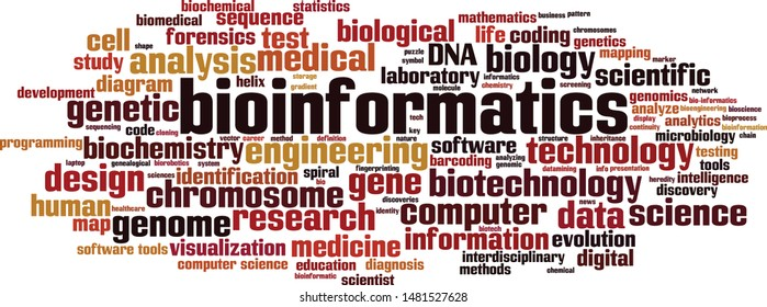 Bioinformatics word cloud concept. Collage made of words about bioinformatics. Vector illustration