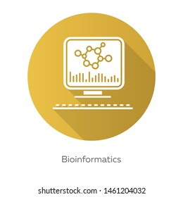 Bioinformatics yellow flat design long shadow glyph icon. Human genome research. Information analysis by computer. Biological data. Genetics info. Bioengineering. Vector silhouette illustration