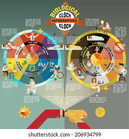 Biological Clock Health And Medical Infographics.
