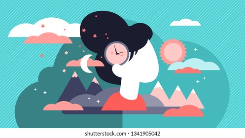 Biological clock vector illustration. Flat tiny aging childless persons concept. Woman reproductive and fertilisation level decreasing with time. Symbolic abstract biological life countdown in head.