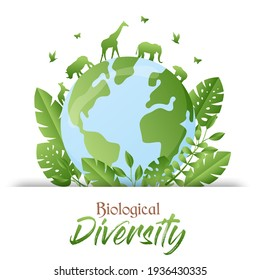 Biological Diversity illustration of green planet earth with wild animals walking and trees. Nature care awareness concept. Includes giraffe, elephant, rhino animal.