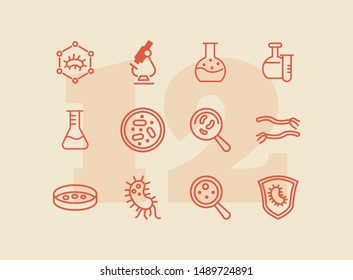 Biological laboratory line icon set. Set of line icons on white background. Science concept. Laboratory, flask, lens. Vector illustration can be used for topics like biology, investigation, study