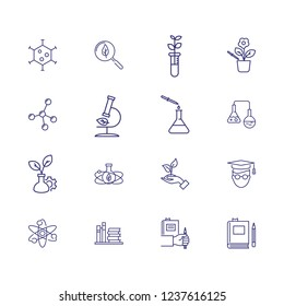 Biological research icons. Set of line icons. Leaf, laboratory, experiment. Study concept. Vector illustration can be used for topics like chemistry, microbiology, ecology