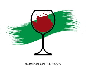 Biological wine concept, Organic Red Wine Glass Icon, biodynamic cultivation, Wineglass logo, Glassware Icon Vector Art Illustration isolated or white background