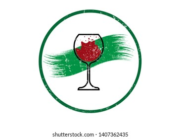 Biological wine concept, Organic Red Wine Glass Icon, biodynamic cultivation, Wineglass logo, Glassware vintage round symbol Icon Vector Art Illustration isolated or white background