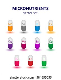 Biologically important elements micronutrients and other active substances. Set of multicolored capsules, tablets, pills on a white background.
