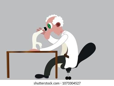 a biologist looks into a specimen using a light microscope