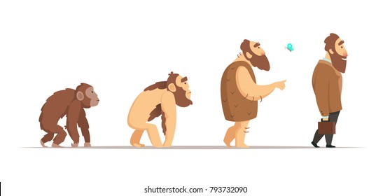 Biology evolution of homo sapiens. Vector characters in cartoon style. Biology human and neanderthal man, animal monkey progress illustration